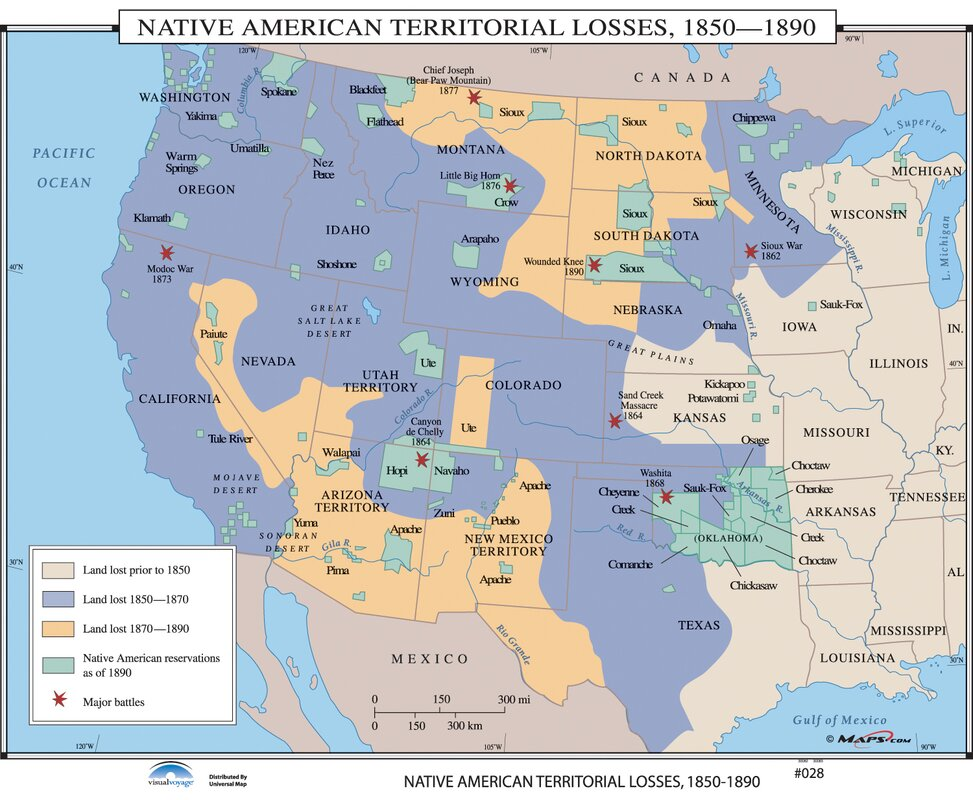 Universal Map US History Wall Maps Native American Territorial - Us native american map