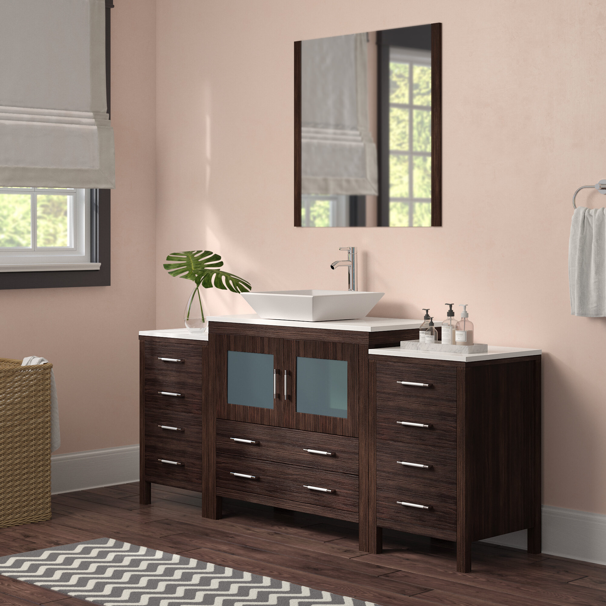 Brayden Studio Stanardsville 71 Single Bathroom Vanity Set With White Stone Top And Mirror Reviews Wayfair