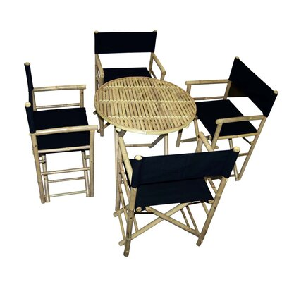 5 Piece Dining Set Bamboo54 Color: Black