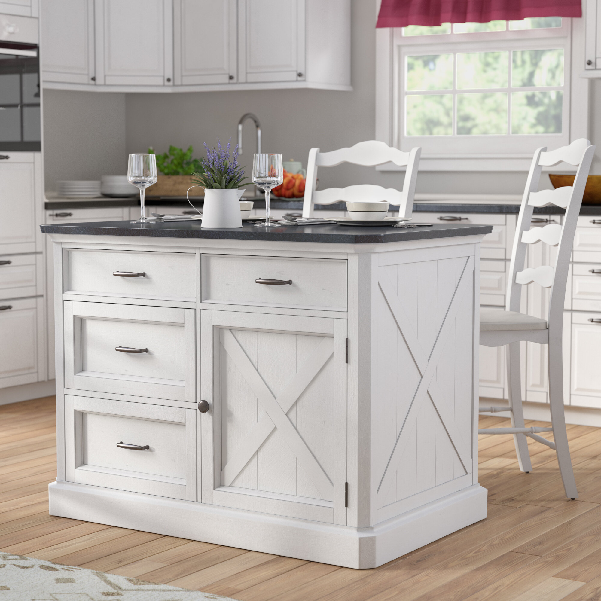 Laurel Foundry Modern Farmhouse Ryles 3 Piece Kitchen Island Set With Engineered Quartz Top Wayfair