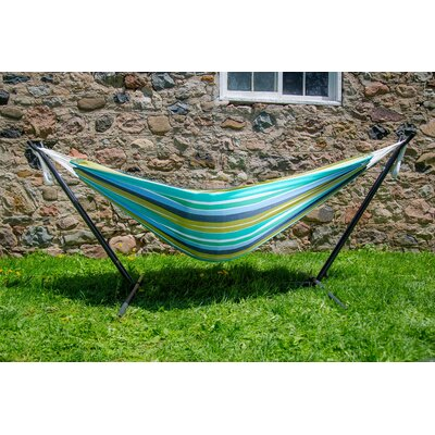 Beachcrest Home Dorinda Double Hammock with Stand Color: Cayo Reef, Stand Color: Black
