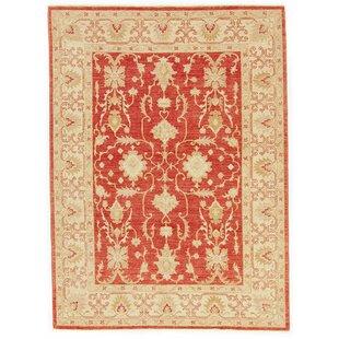 Garway Hand Knotted Wool Red/Beige Rug by Rosalind Wheeler