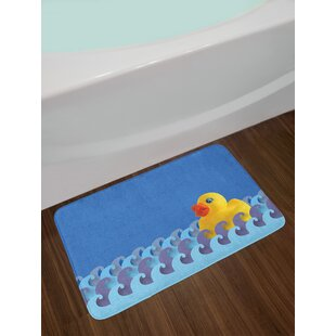 Rubber Duck Floating On Paper Seem Water Waves Bathroom Time Childcare Image Non Slip Plush Bath Rug