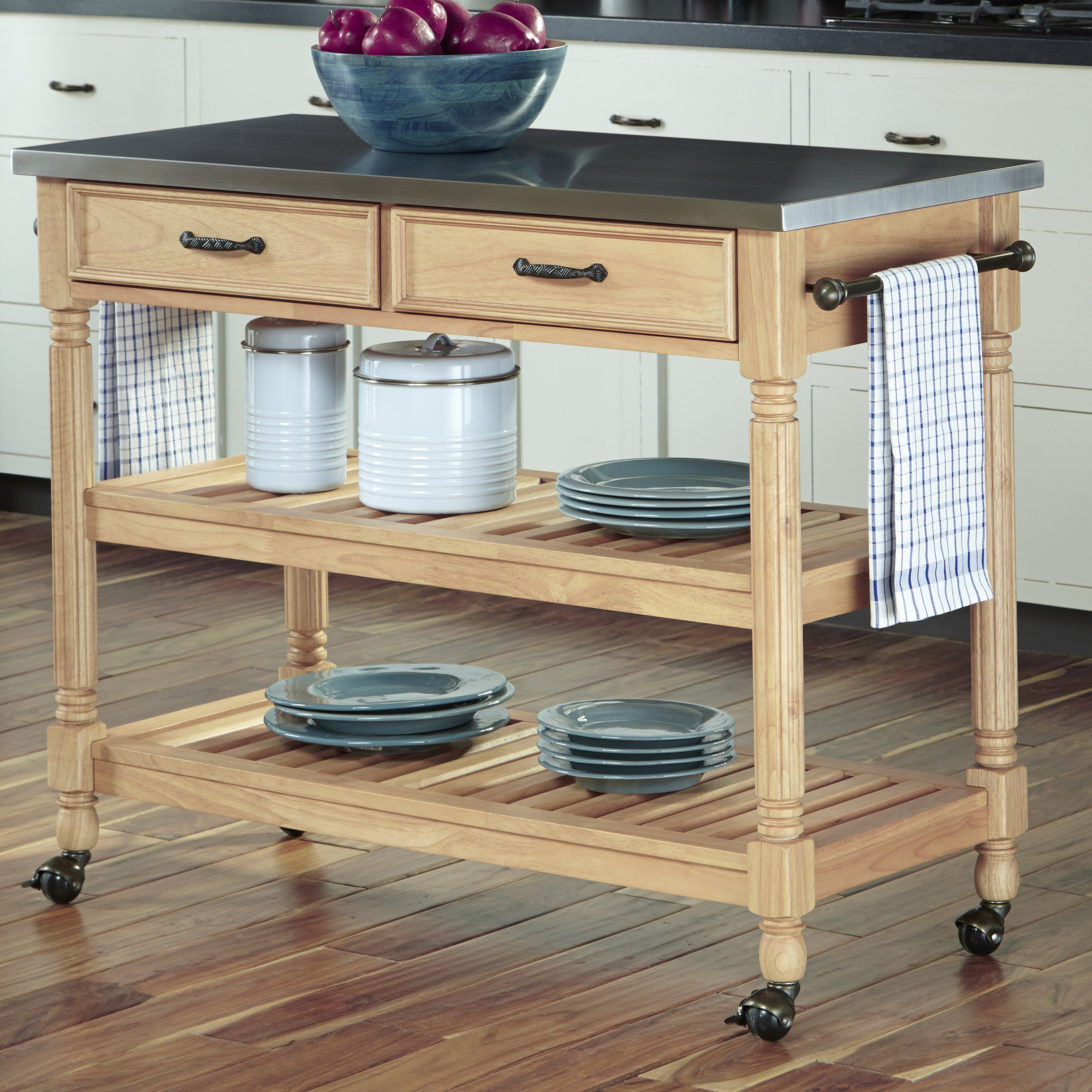 Three Posts Fitzhugh Kitchen Cart with Stainless Steel Top & Reviews ...