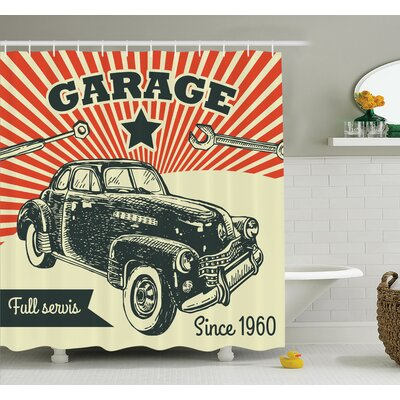 60s Retro Car Pop Art Shower Curtain Set