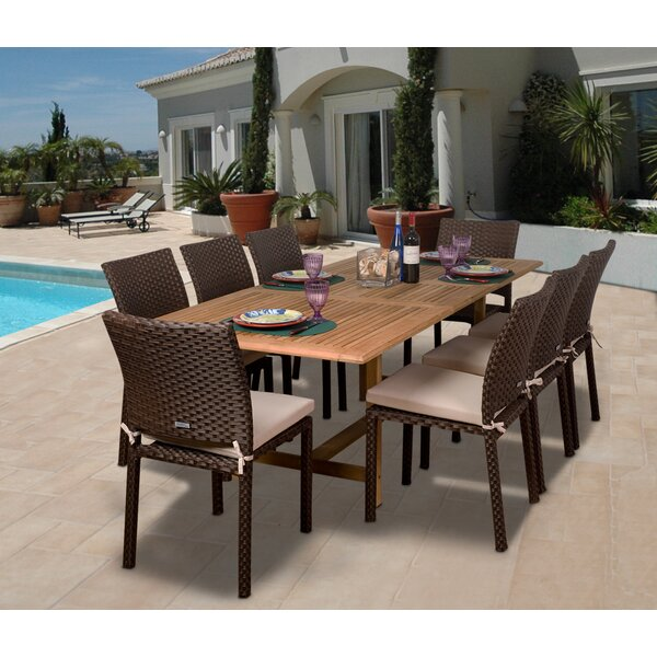 Beachcrest Home Elsmere 9 Piece Dining Set With Cushions U0026 Reviews | Wayfair