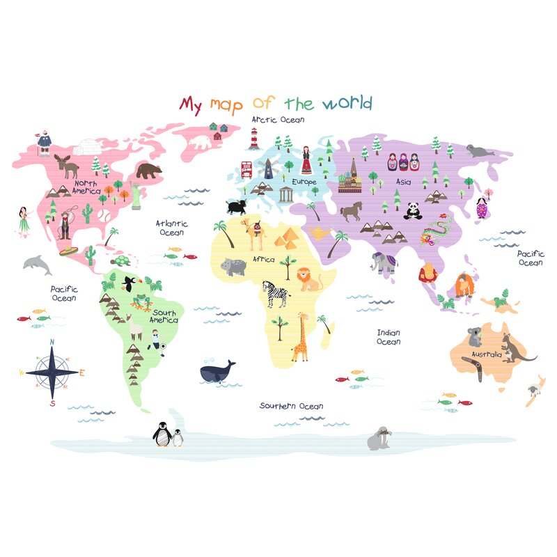 Jojo maman bb map of the world wall decal reviews wayfair map of the world wall decal gumiabroncs Choice Image