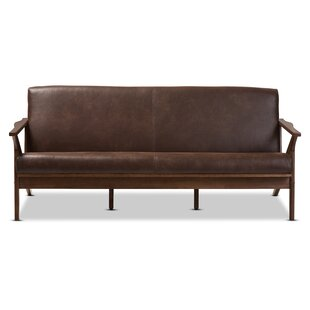 Arick Mid Century Faux Leather Modern Sofa