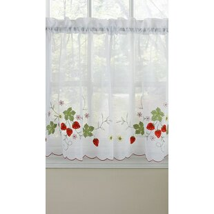 Crisfield Strawberry Tier Pair Cafe Curtain