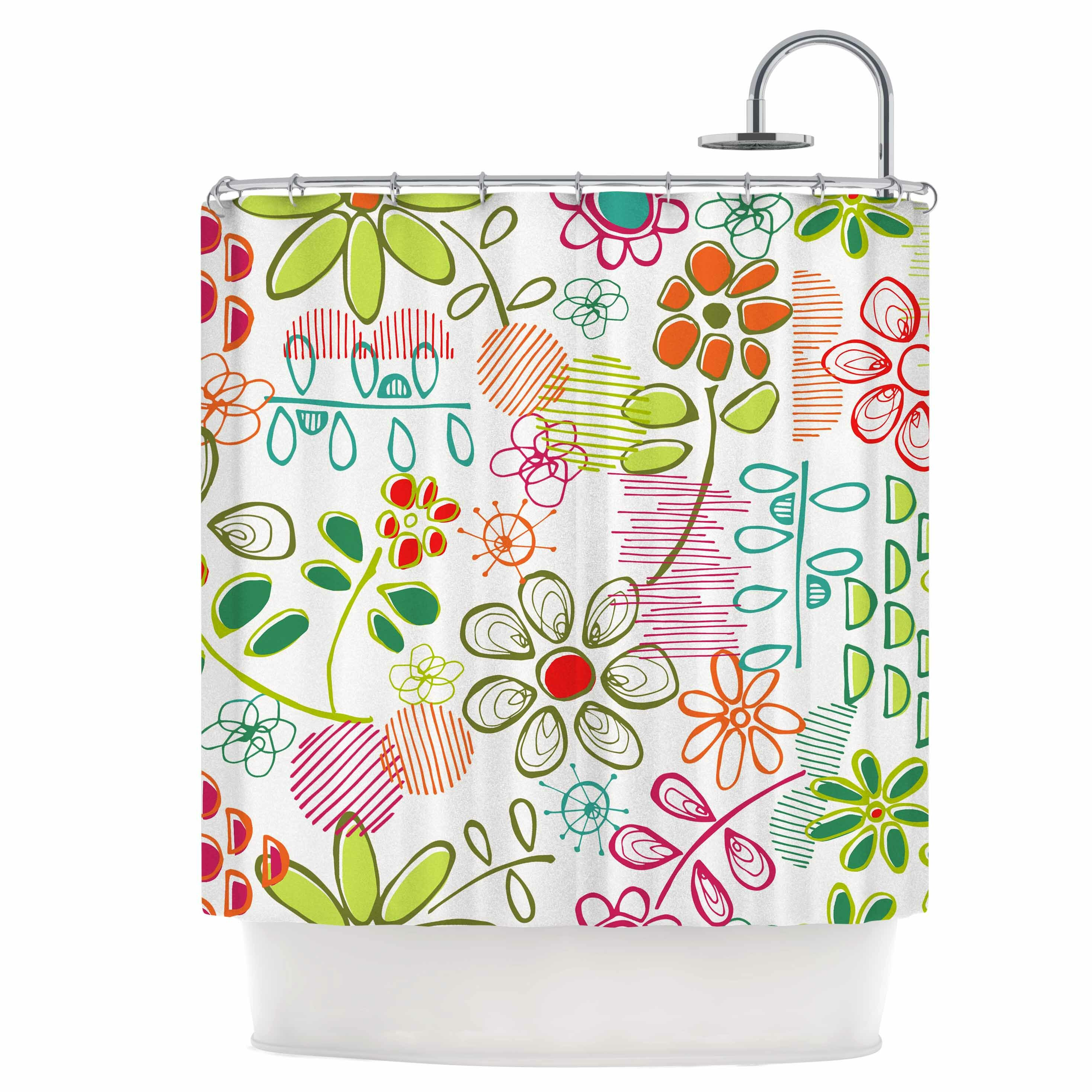 East Urban Home Wildflower Shower Curtain