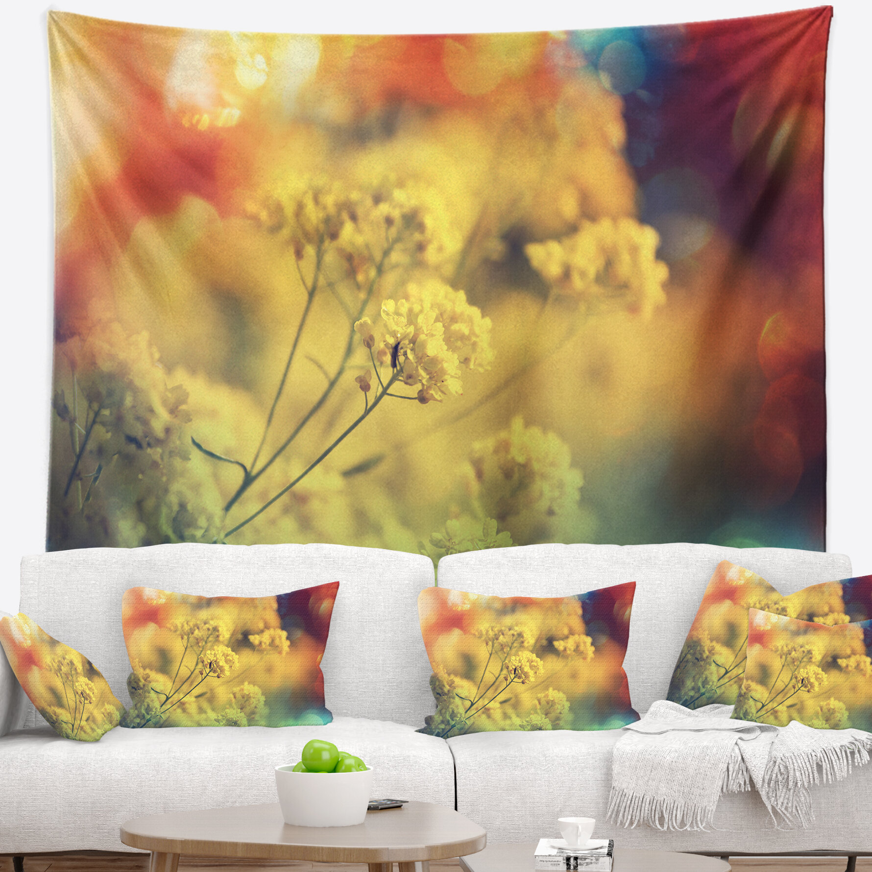 East Urban Home Light Little Yellow Flowers Background Tapestry And