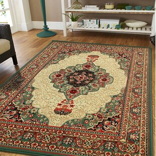 Premo Oriental Green Beige Indoor Outdoor Area Rug