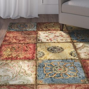 Aftonshire Red/Blue Area Rug