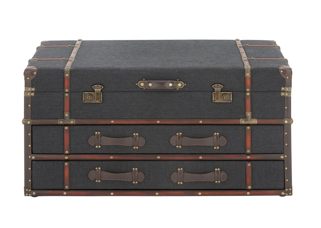 Cole & Grey Wood and Fabric Coffee Table Trunk & Reviews