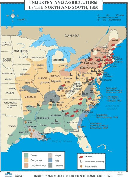 Universal Map U S History Wall Maps Industry Agriculture In North South Wayfair