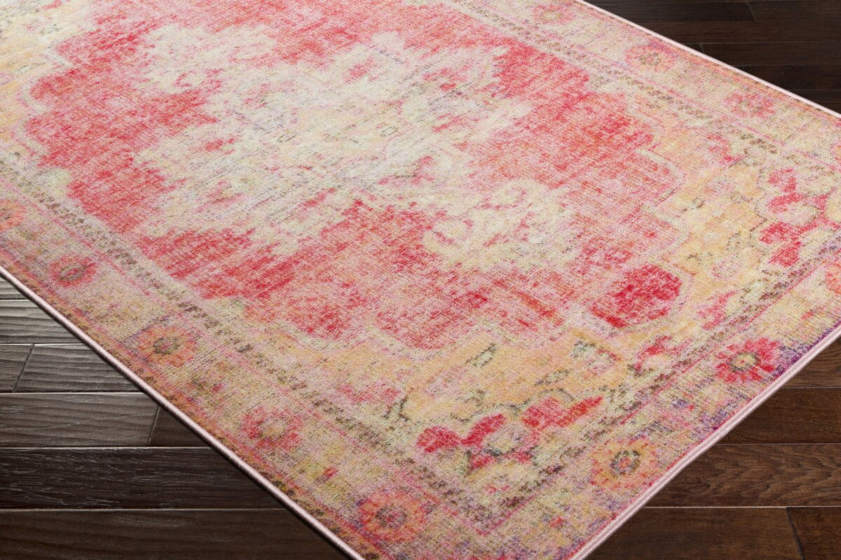 Bungalow rose ryhill floral bright pink pale pink area rug for Bright floral area rugs