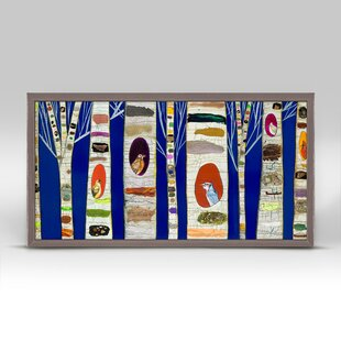 Birch Tree With Wild Birds On Cobalt Blue Background Framed Print Canvas