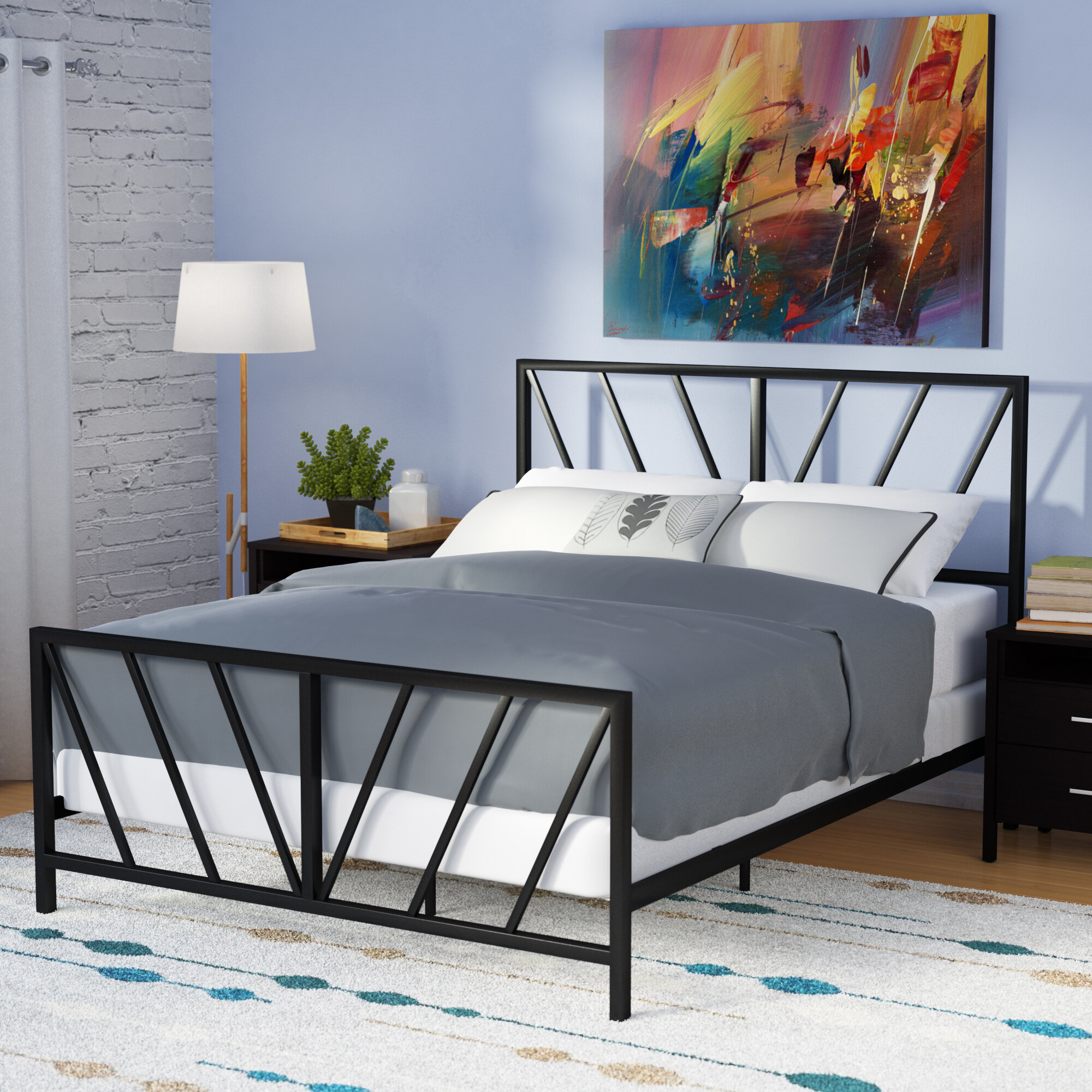 Reese patterned queen panel bed
