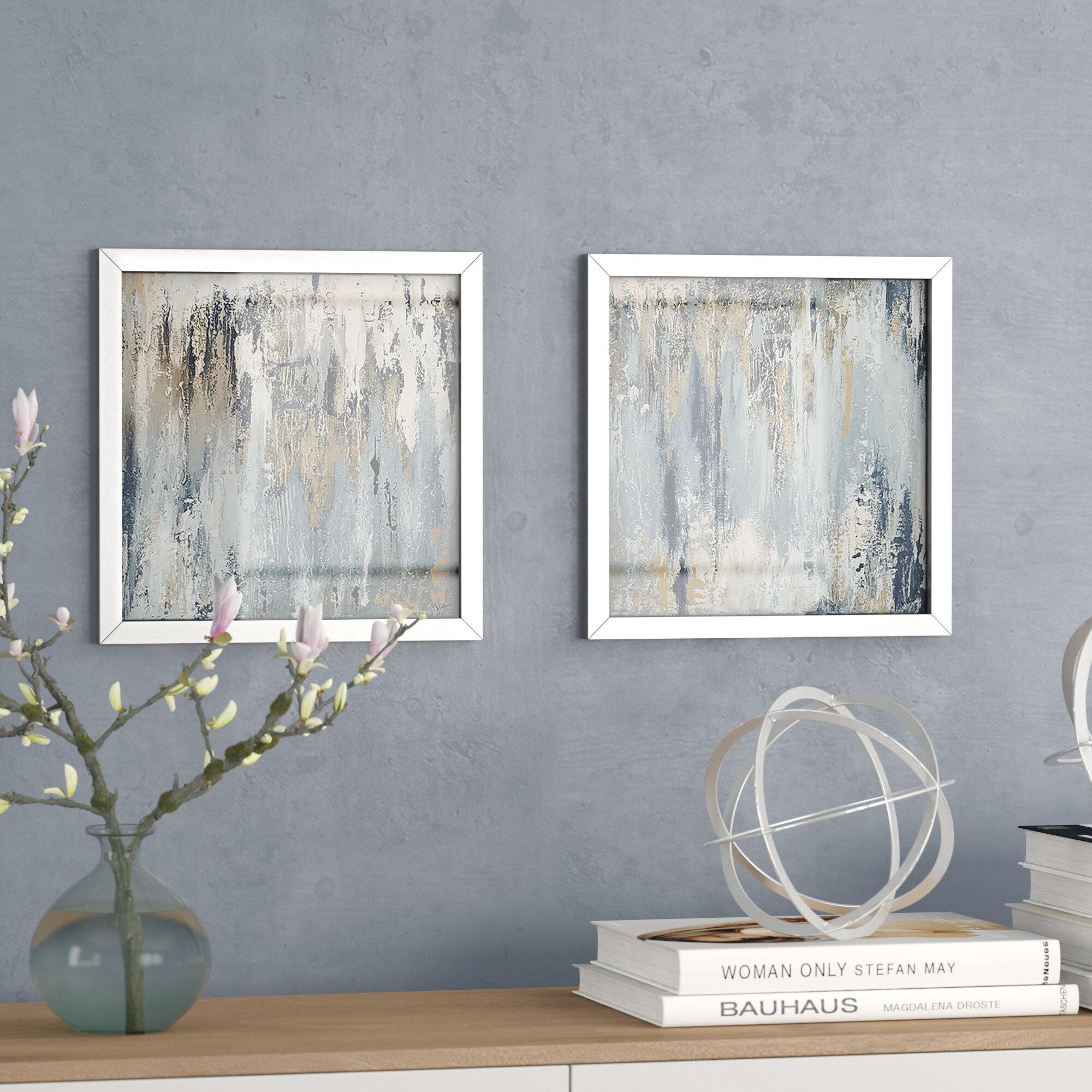 b5917a8cdb26 Mercury Row  Blue Illusion Square I  2 Piece Framed Acrylic Painting Print  Set   Reviews