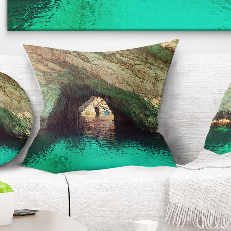 East Urban Home Landscape Beautiful Sea Cave In Greece Pillow Wayfair