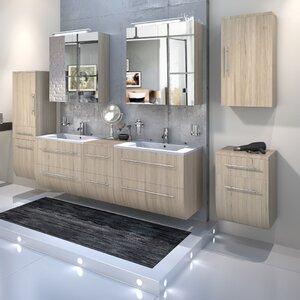 bad11® 150 cm Wandmontierter Waschtisch für Doppelbecken Zenia mit Spiegel und Armatur
