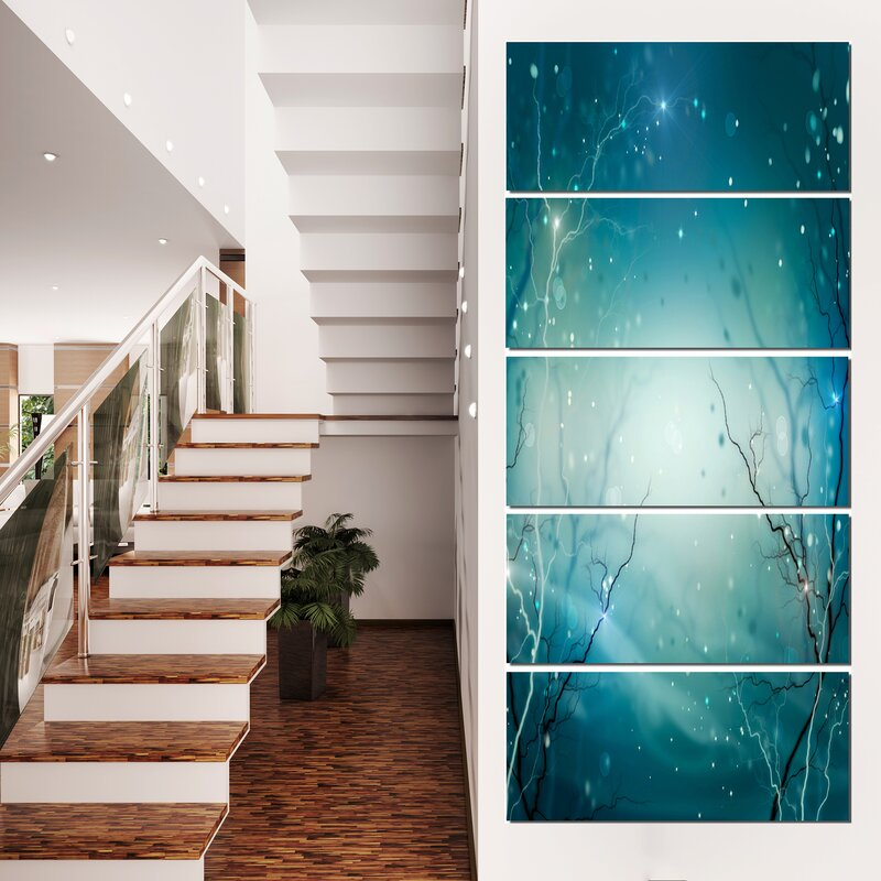 DesignArt Blue Winter Fantasy Forest 5 Piece Wall Art on Wrapped ...