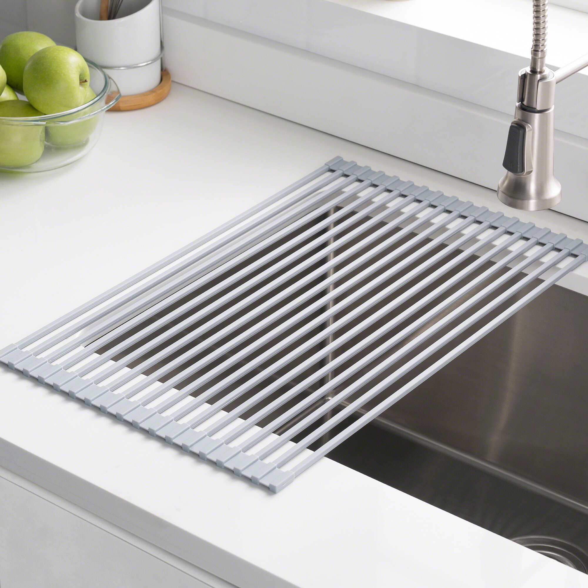 Krm 10grey Kraus Silicone Coated Stainless Steel Over The Sink Multipurpose Roll Up Dish Rack Reviews Wayfair