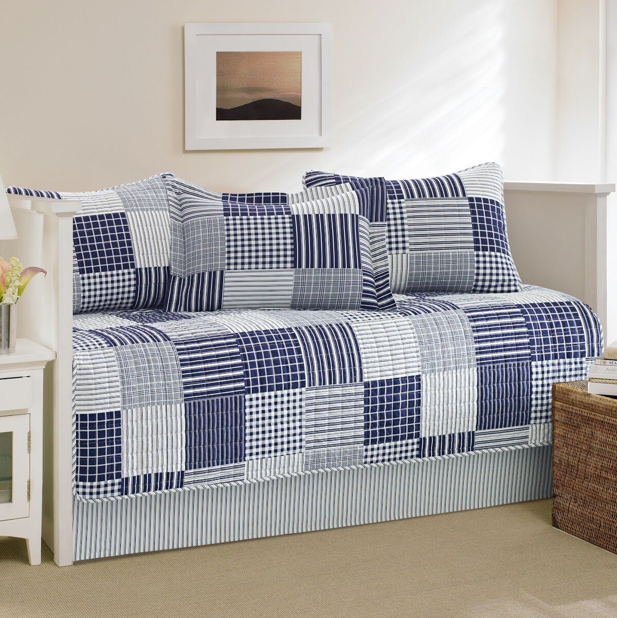 Daybed Bedding Set Blue Cover Plaids Stripes Twin Sized Quilted Coverlet 5 Pc Bedding Home Garden
