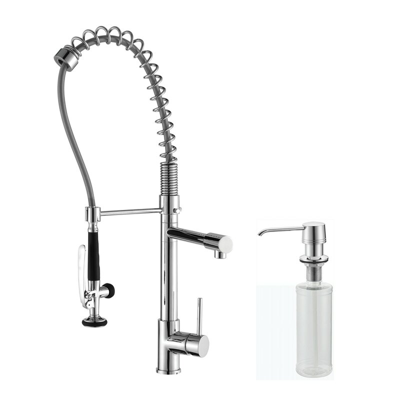 Kraus Single Handle Pull Down Kitchen Faucet with Soap Dispenser