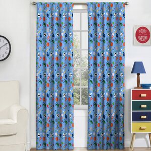 Lou-Ann Kids Graphic Print & Text Blackout Thermal Rod Pocket Single Curtain Panel