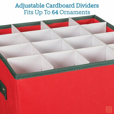 Premium Christmas Ornament Storage Box With Lid And Divider