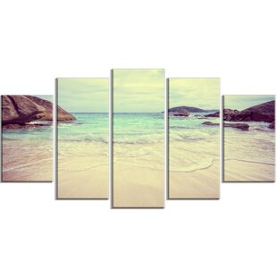 baf529698c 'Vintage Style Seashore Thailand' 5 Piece Wall Art on Wrapped Canvas Set.  by Design Art