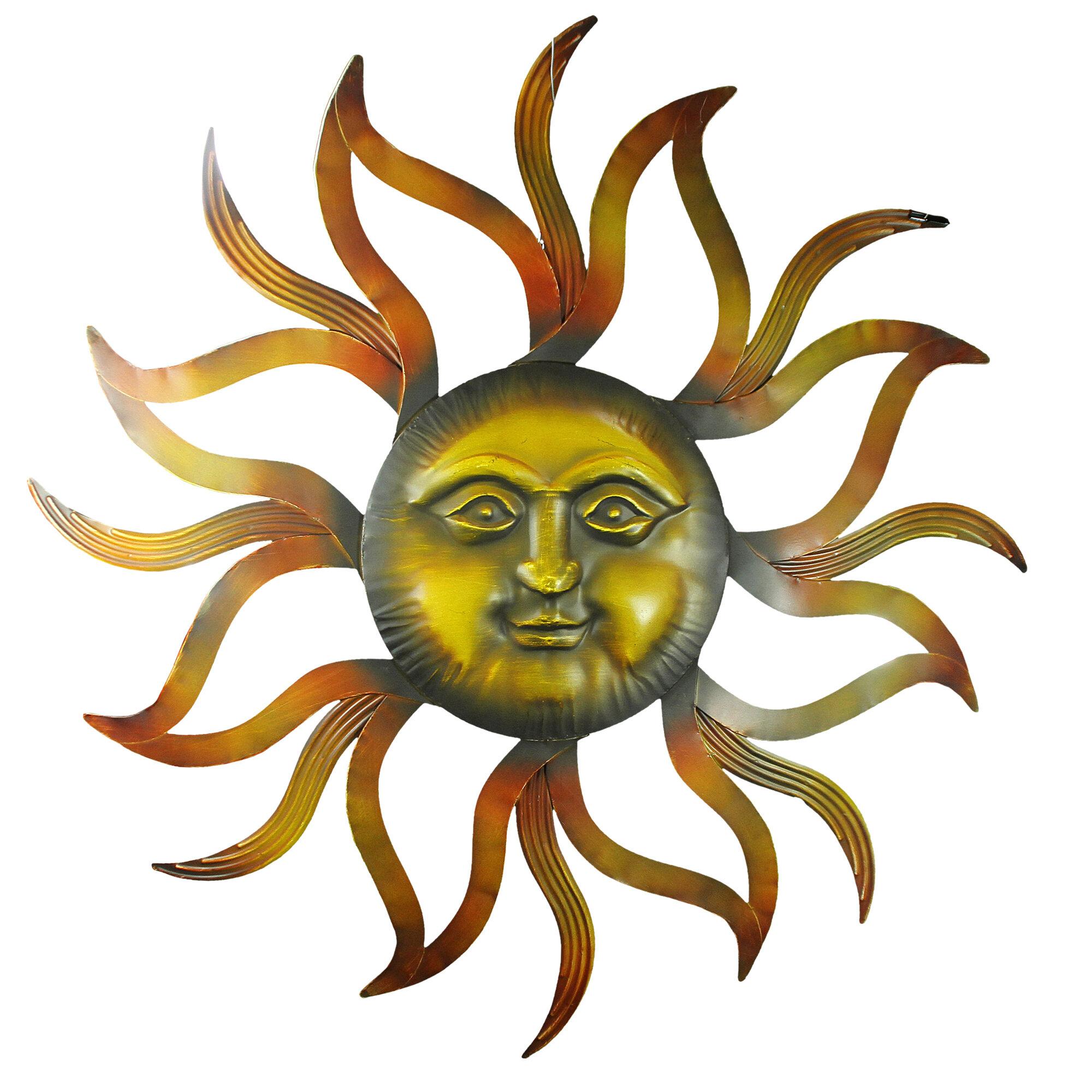 89f05a709a341 Novica Romantic Duality Orange Sun and Moon Steel Wall Décor