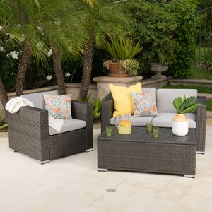 Smithton Outdoor Wicker 3 Piece Deep Seating Group with Cushions