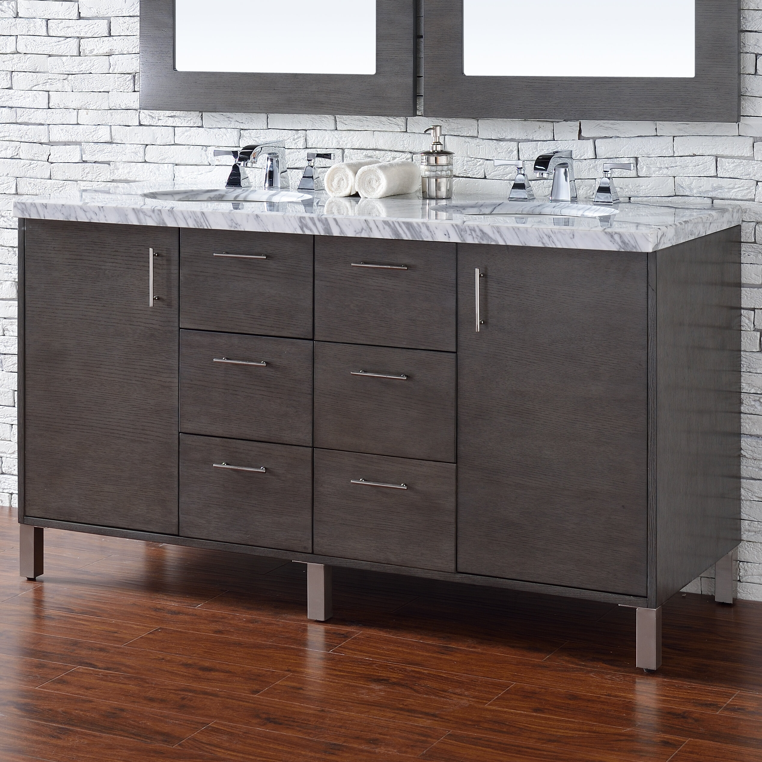 "Orren Ellis Cordie 60"" Double Silver Oak Marble Top Bathroom Vanity Set 