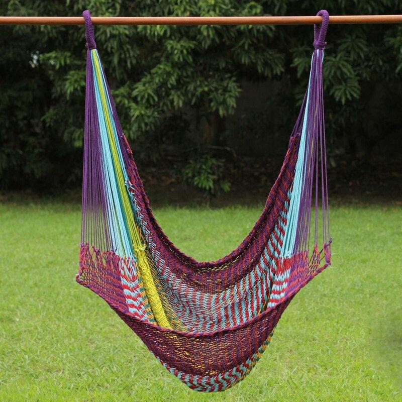 Fair Trade Comfortable Multicolored Hand Woven Thai Cotton Indoor And  Outdoor Swinging Hammock Chair Hammock