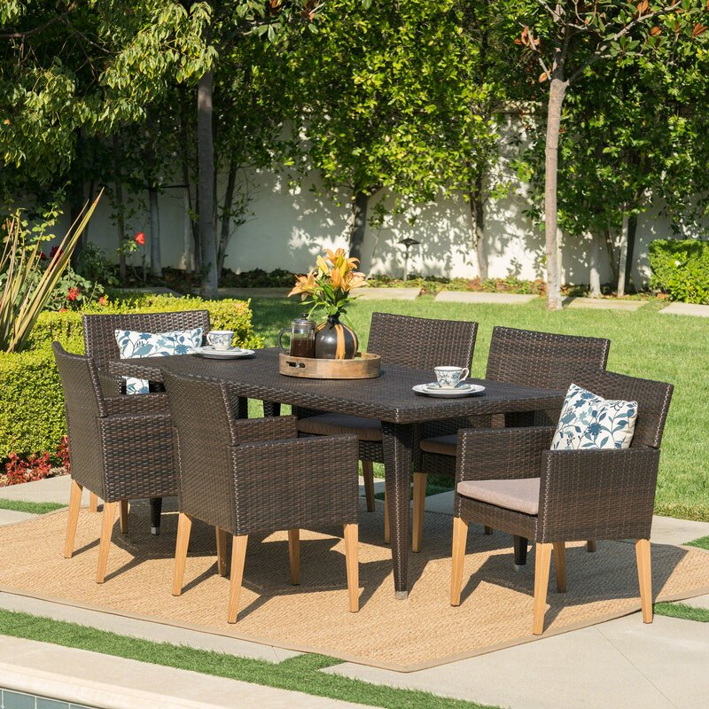 Jaliyah Outdoor 7 Piece Dining Set With Cushions