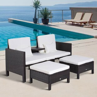 Kayson Loveseat and Nested Ottoman Outdoor Furniture 3 Piece Rattan & Martha Stewart Patio Furniture | Wayfair