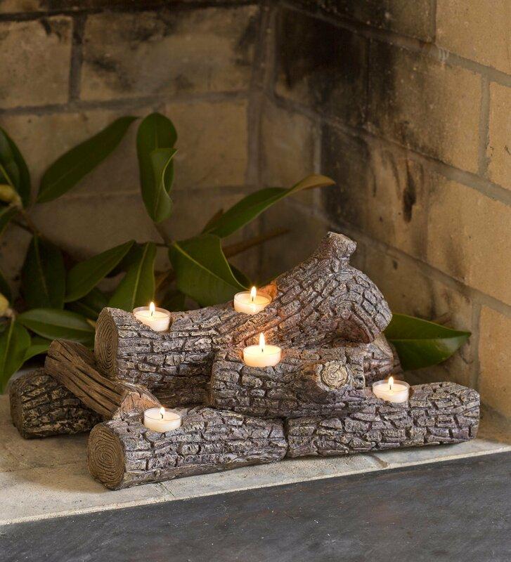 plow  u0026 hearth logs hearth candle holder  u0026 reviews