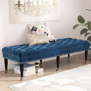 41f58804ef8a3 Cline Velvet Upholstered Bench with Caster