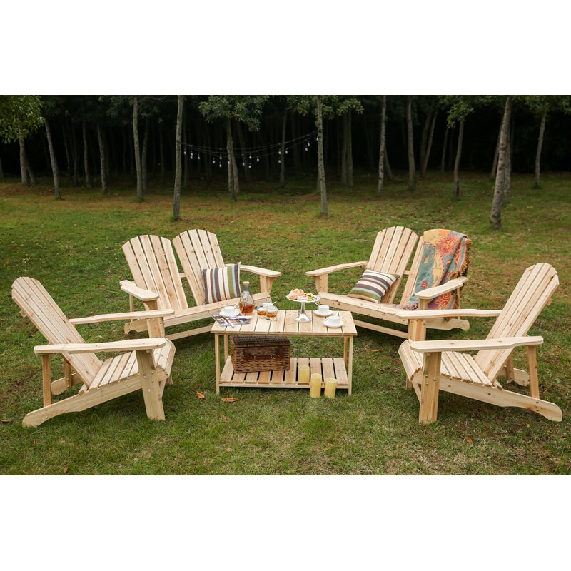 Superbe Riggio Solid Wood Adirondack Chair With Table