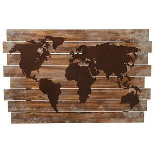 Steel world map wall decor wayfair slat world map wall dcor gumiabroncs Gallery