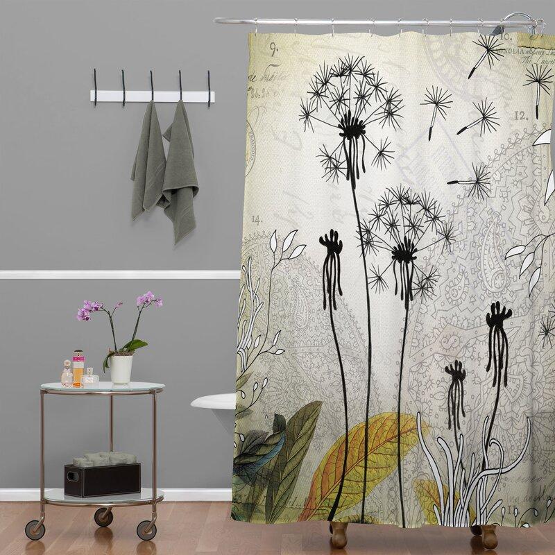 Latitude Run Herkimer Little Dandelion Extra Long Shower Curtain ...
