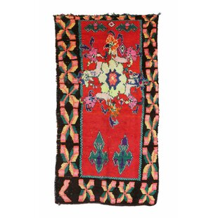 Azilal Vintage Moroccan Hand Knotted Wool Red/Teal/Black Area Rug