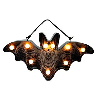 Lighted Black Bat Decorative Accent