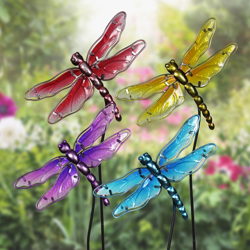 Charmant Disalvo Glass Dragonfly Garden Stakes