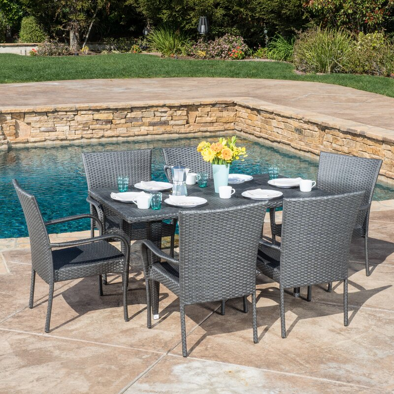 Great Marissa Outdoor 7 Piece Dining Set