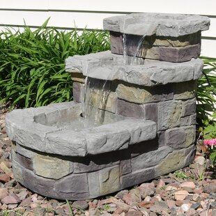 Polyresin 3 Tier Brick Step Outdoor Water Fountain