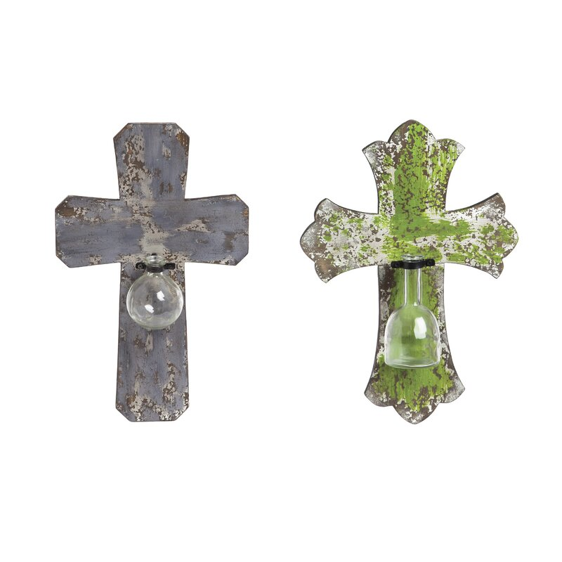 2 Piece Crosses With Decorative Gl Vases Wall Décor Set