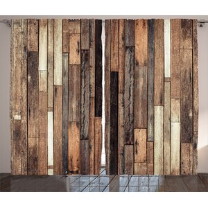 Herman Wooden Brown Old Hardwood Floor Plank Grunge Lodge Garage Loft Natural Rural Graphic Artsy Print Graphic Print & Text Semi-Sheer Rod Pocket Curtain Panels (Set of 2)